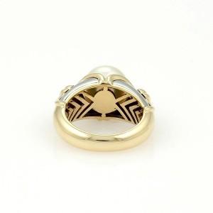 Bulgari 18K Yellow & White Gold Akoya Pearl Ring Size 4.5