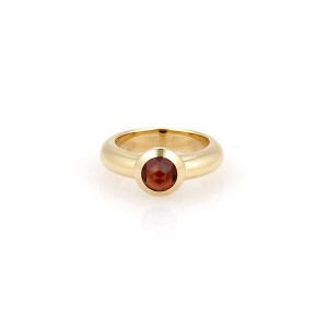 Tiffany & Co. France 18K Yellow Gold & Bullet Shape Garnet Solitaire Ring Size 4.25