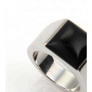 Cartier 18K White Gold & Black Onyx Square Top Tank Ring Size 7