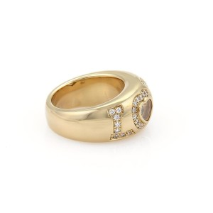 Chopard Happy Diamond 18K Yellow Gold with 0.55ct Diamond LOVE Dome Band Ring Size 6.5