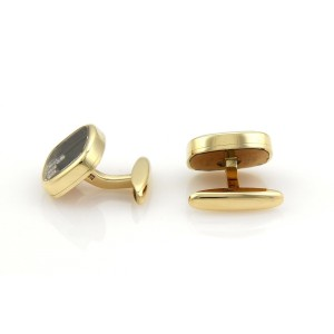 Chopard Happy Diamond 18K Yellow Gold Rectangular Shape Stud Cufflinks