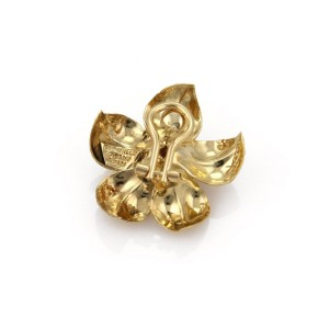 Tiffany & Co. 0.30ct. Diamond Ruby 18K Yellow Gold Flower Post Clip Earrings