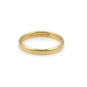Tiffany & Co. 18K Yellow Gold Wide Plain Wedding Band Ring Size 8.5