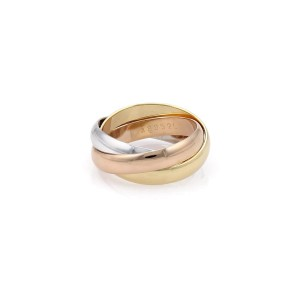 Cartier Trinity 18K Tricolor Gold Rolling Band Ring Size 5