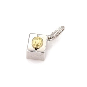 Cartier Double C Logo 18K Yellow and White Gold Gift Box Charm Pendant