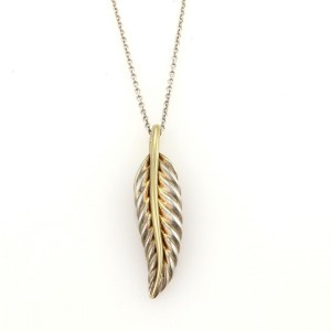 Tiffany & Co. 925 Sterling Silver and 18K Yellow Gold Feather Leaf Pendant & Chain Necklace