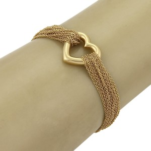 Tiffany & Co. 18K Yellow Gold Multi-Chain Heart Charm Toggle Clasp Bracelet