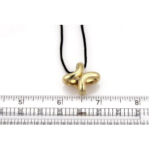 "Hermes 18K Yellow Gold and Cord Fancy ""H"" Pendant Necklace"