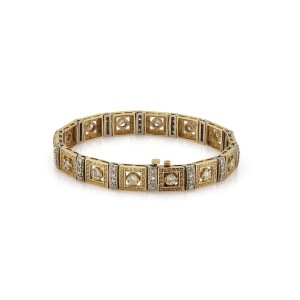 Versace 14K Yellow and White Gold with 3.00ctw Diamond Bracelet