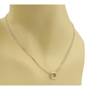 Cartier Trinity 18K Rose Yellow and White Gold 3 Mini Ring Pendant Double Chain Necklace