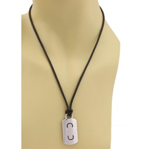 Bulgari Bvlgari Parentesi 18k White Gold Stencil Tag Pendant Cord Necklace