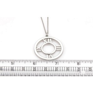 Tiffany & Co. Atlas 18K White Gold Roman Numeral Pendant Necklace