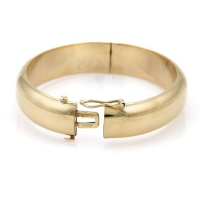Tiffany & Co. Vintage 14K Yellow Gold 13mm Wide Dome Bangle Bracelet