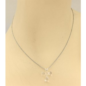 Tiffany & Co. Peretti 950 Platinum with Rock Crystal Clear Quartz Cross Pendant Chain Necklace