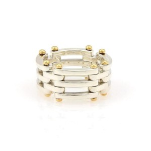 Tiffany & Co. GATELINK 18K Yellow Gold, Sterling Silver Ring Size 6