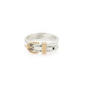 Hermes Sterling 18K Yellow Gold, Sterling Silver Ring Size 5