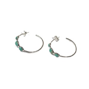 Ippolita 925 Sterling Silver with Turquoise Three Stone Large Hoop Earrings