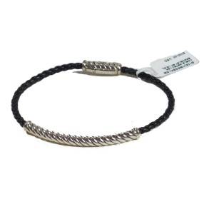 David Yurman Sterling Silver and Leather Cable Classic Bracelet