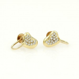 d6266b92c Elsa Peretti 18k Yellow Gold & Diamond Heart Bean Stud Earrings | Tiffany &  Co. | Buy at TrueFacet