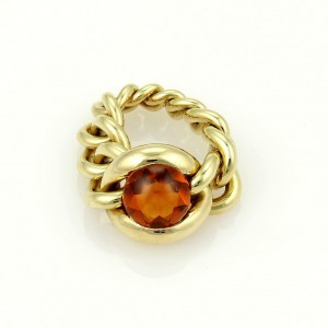 Chanel 18k Yellow Gold 4ct Cabochon Citrine Chain Link Flex Band Ring