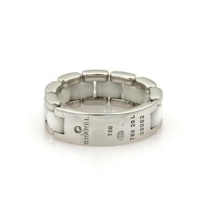 Chanel Ultra White Ceramic 18k White Gold Flex Bar Band Ring Size 9