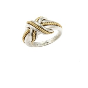 81588d6da Tiffany & Co. Sterling 18k Yellow Gold X Crossover Ring Size - 4.25 ...