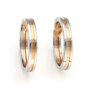 Bvlgari Bulgari B Zero-1 Steel & 18k Rose Gold Engraved Hoop Earrings