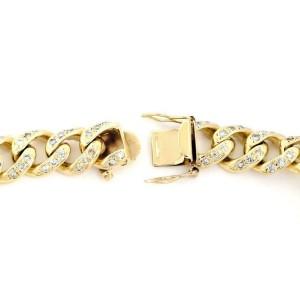 "Classic 4ct Diamond 14k Yellow Gold Curb Link Chain Bracelet 8.5"" Long"