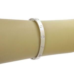 Cartier Love 4 Diamond 18k White Gold Bangle Size 16 w/Screwdriver Paper