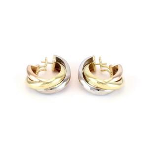 Cartier Trinity 18k Tri-Color Gold Triple Interlaced Oval Hoop Earrings