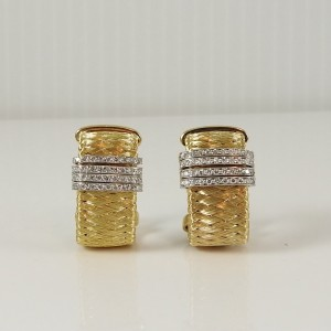 Roberto Coin Silk Weave 18k Yellow Gold Diamond Earrings