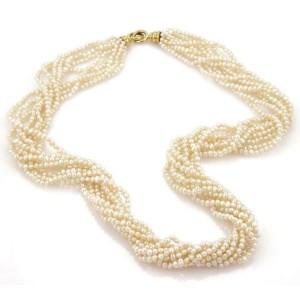 "Tiffany & Co. Picasso 1982 Multistrand Pearl 18k Gold Torsade Necklace 28"""