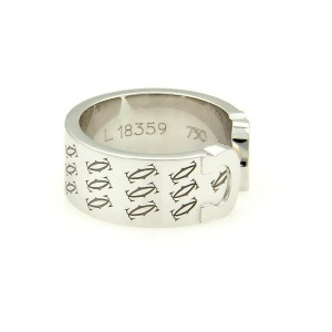 Cartier Limited Edition Double C 18kt White Gold Band Ring Size EU 51-US 5.75