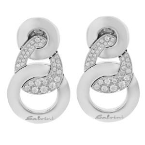 Salvini 18K White Gold 68 Diamonds Ladies Stud Earrings 13.4 g