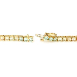 Estate Multi-Color Tourmaline Rainbow 14k Yellow Gold Tennis Bracelet