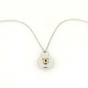 Tiffany & Co. Sterling 18k Rose Gold Padlock Round Pendant & Chain