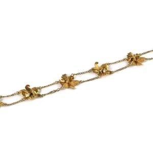 Art Nouveau 10k Yellow Gold Pearls 5 Floral Link Double Chain Bracelet