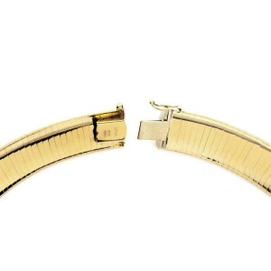 Auram Italy 14k Yellow Gold Flexible Omega 14mm Wide Collar Necklace