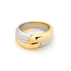 Bvlgari 18k Two Tone Gold Ribbed Band Ring Size 6.25
