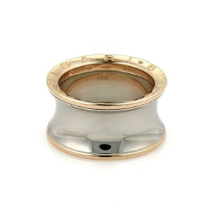 Bvlgari B-Zero 1 Steel 18k Rose Gold Wide Concave Band Ring Size 64-US10.5