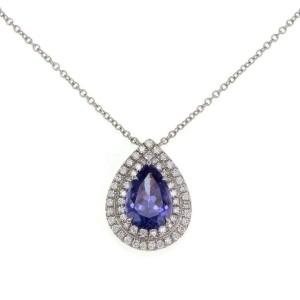 Tiffany & Co. Soleste  Diamond Tanzanite Platinum Pear Pendant Chain Ret: $7500