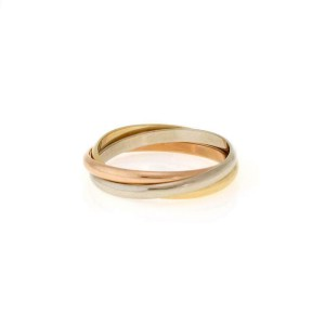 Cartier Trinity 18k Tricolor Gold 2mm Rolling Band Ring Size 55-US 7.25 Cert