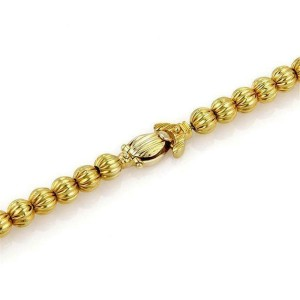 Vintage 18k Yellow Gold Fluted Bead Double Strand Drape Necklace