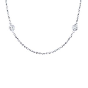 14K White Gold Diamonds 0.77cttw by the Yard Chain 18 Inch Necklace