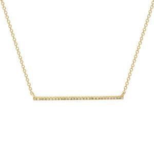 14K Yellow Gold Pave Diamond 0.08cttw Horizontal Bar Pendant 16 Inch Necklace