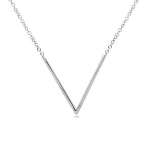 14K White Gold Pave Diamond 0.12cttw V Pendant 17 Inch Necklace