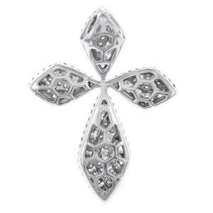 Rachel Koen Festive Diamond Cross 18K White Gold 1.55cttw
