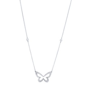 Diamond Butterfly Pendant Necklace Platinum 0.86 cttw Handmade