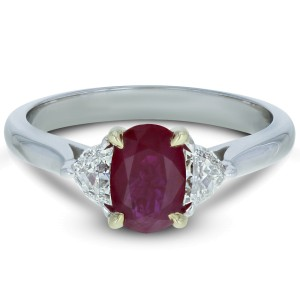 Rachel Koen Three Stone Oval Burma Ruby Diamond Ring 1.36ct 18K White Gold