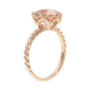 Rachel Koen 14K Rose Gold 2.0 cttw Natural Morganite Ladies Ring Size 5